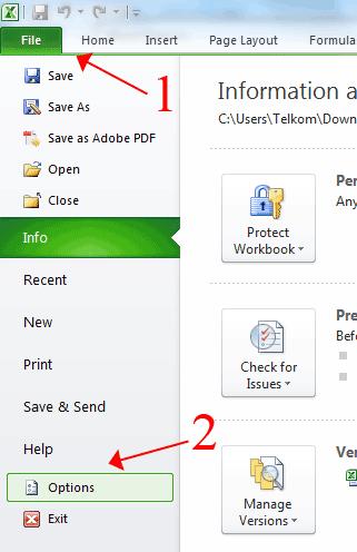 File Option Microsoft Excel