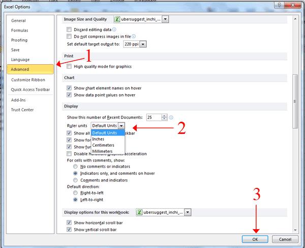 Ruler Units Microsoft Excel