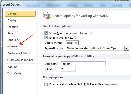 Word Option Advanced