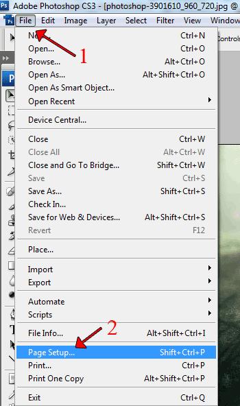 file page setup photoshop