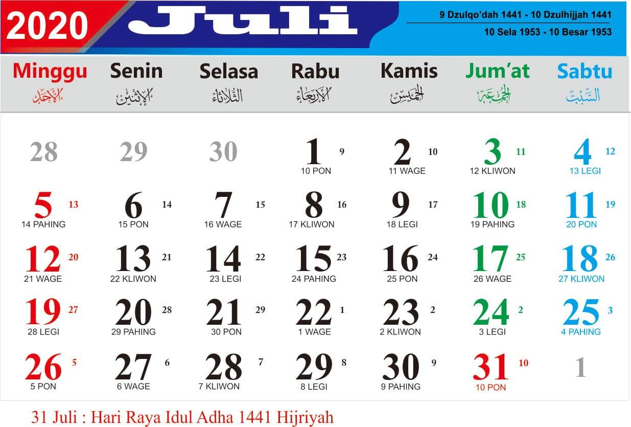 kalender bulan juli 2020