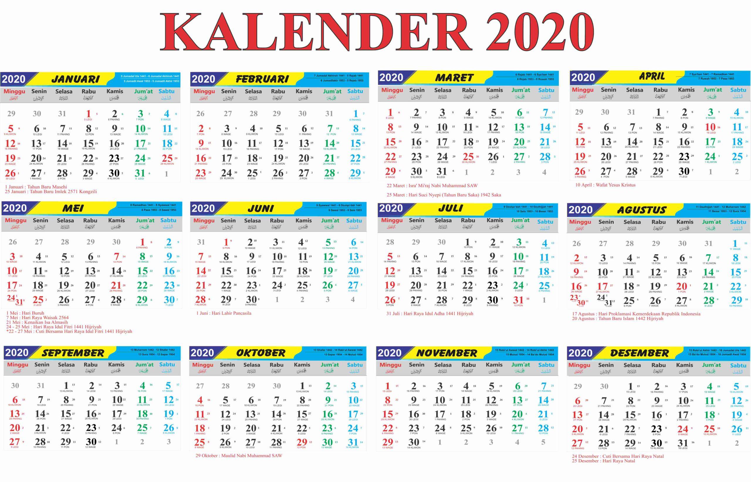 Kalender Thailand 2020 / 2563 zum Download und ausdrucken