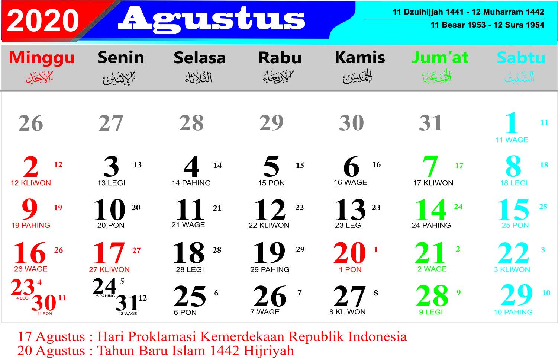 35+ Terbaru Kalender Jawa Bln Agustus 2019, Kalender Jawa