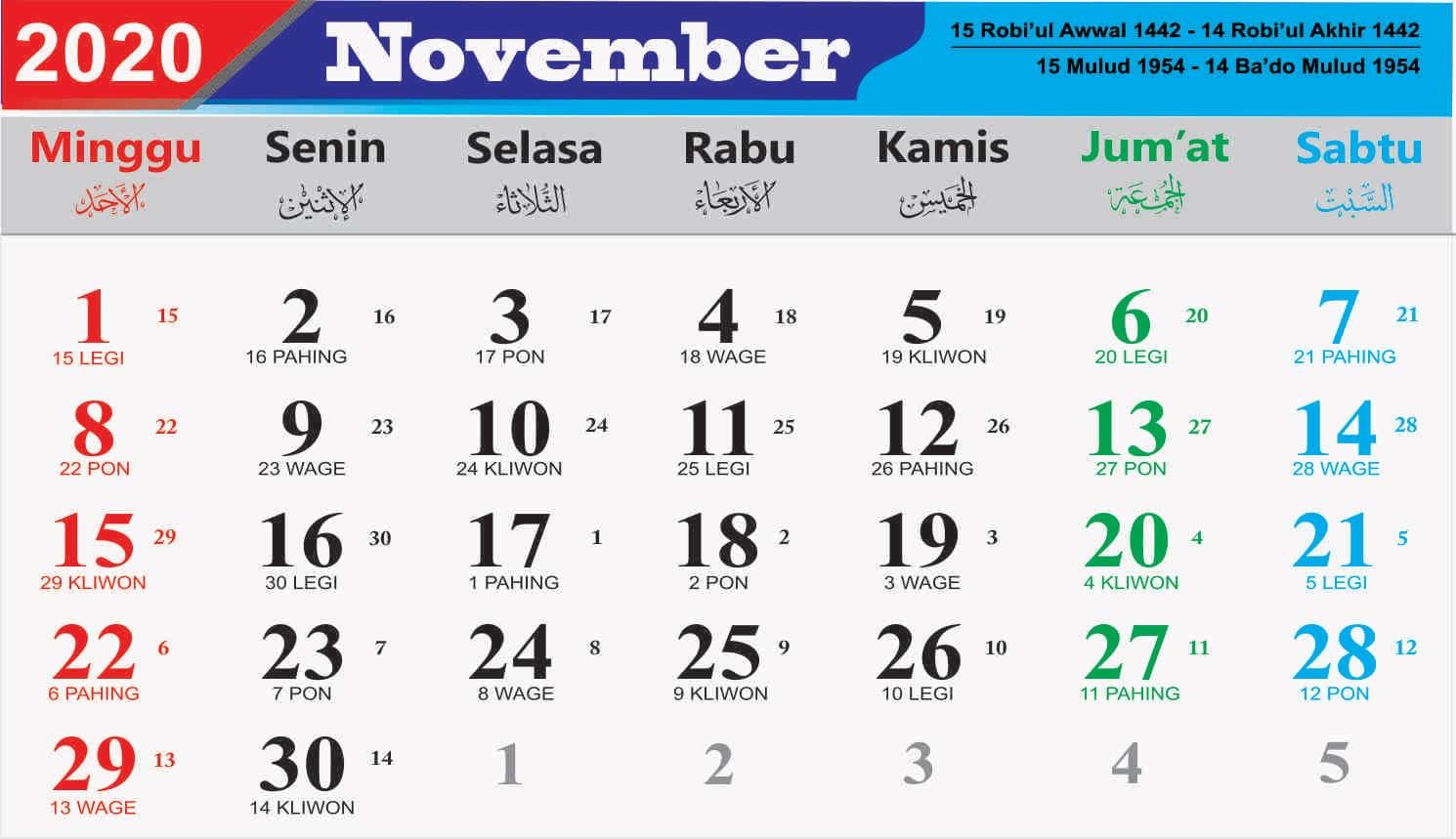 kalender bulan november 2020