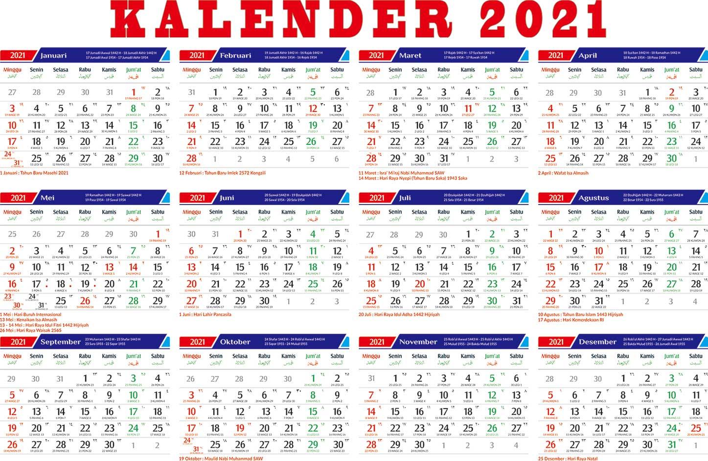 kalender 2021 libur nasional