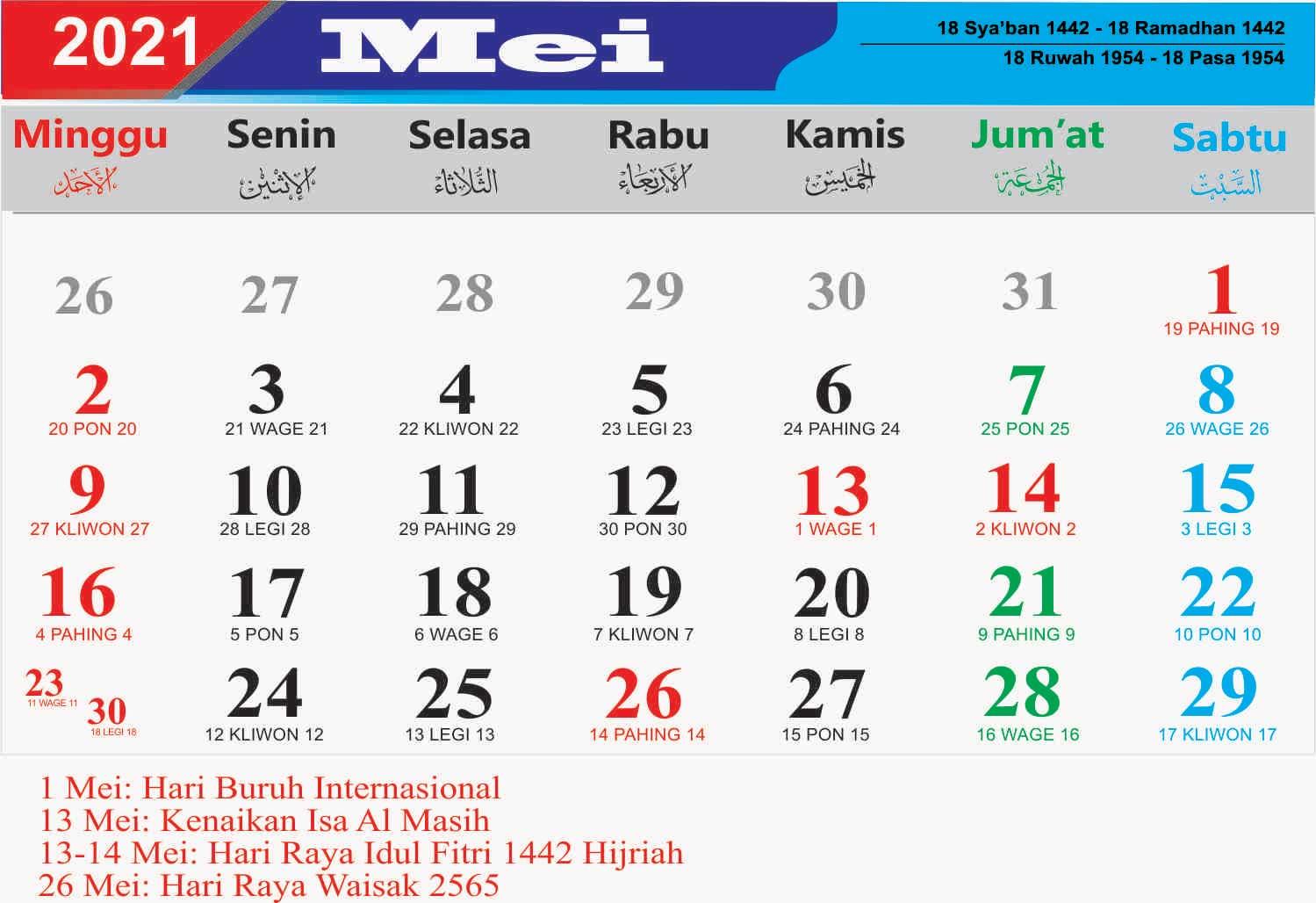Kalender Bulan Mei 2021 Lengkap Hari Libur Nasional