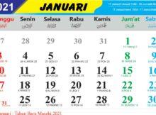 kalender bulan januari 2021