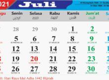 kalender bulan juli 2021
