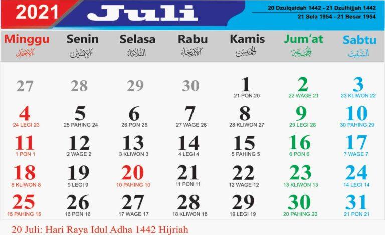 Kalender Bulan Juli 2021 Lengkap Hari Libur Nasional