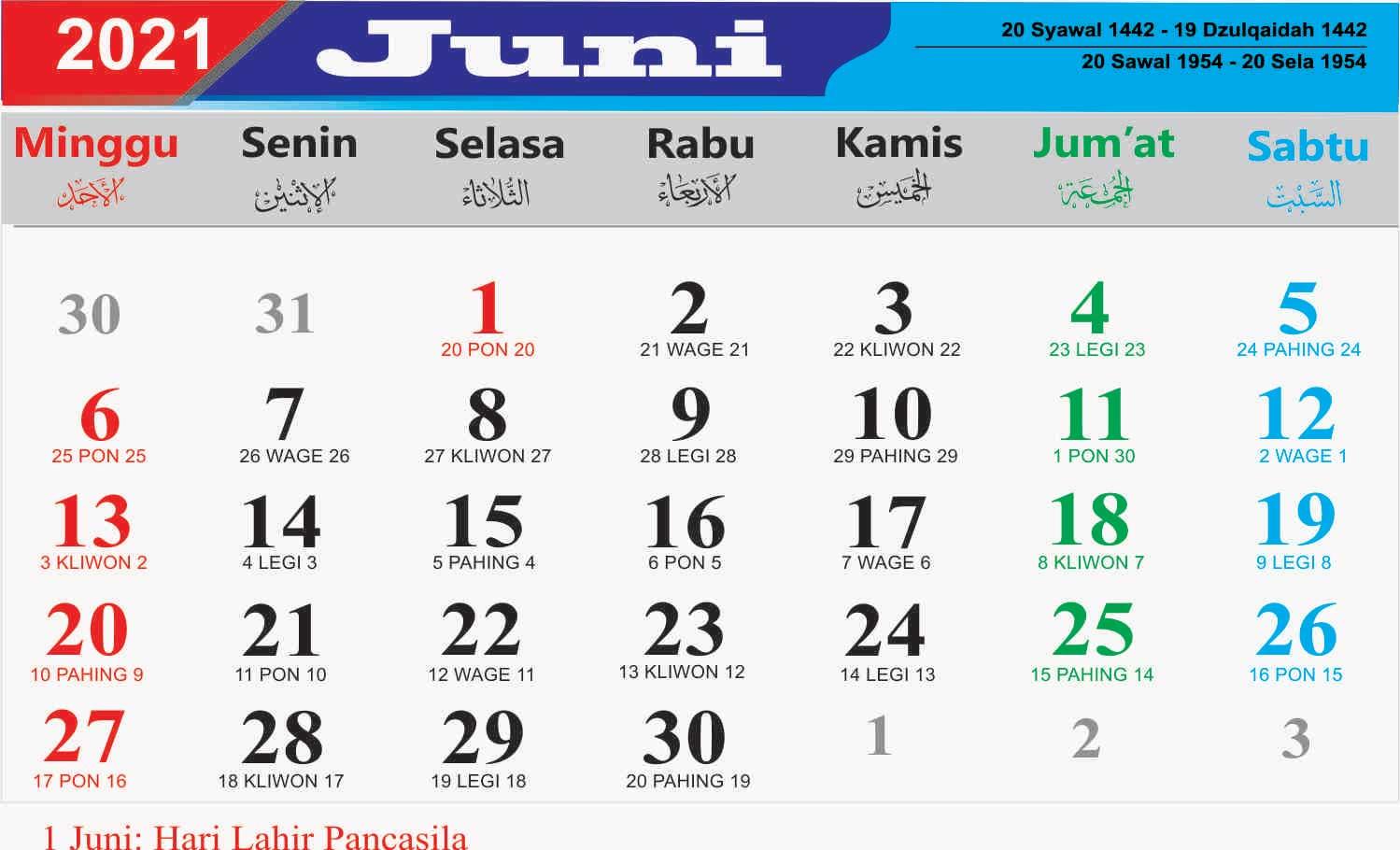 kalender bulan juni 2021