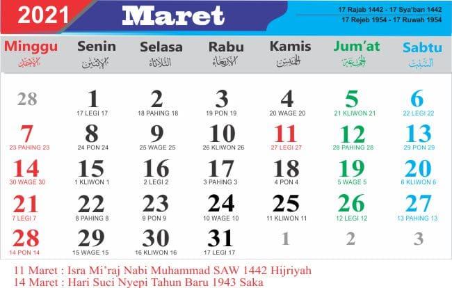Kalender maret 2021