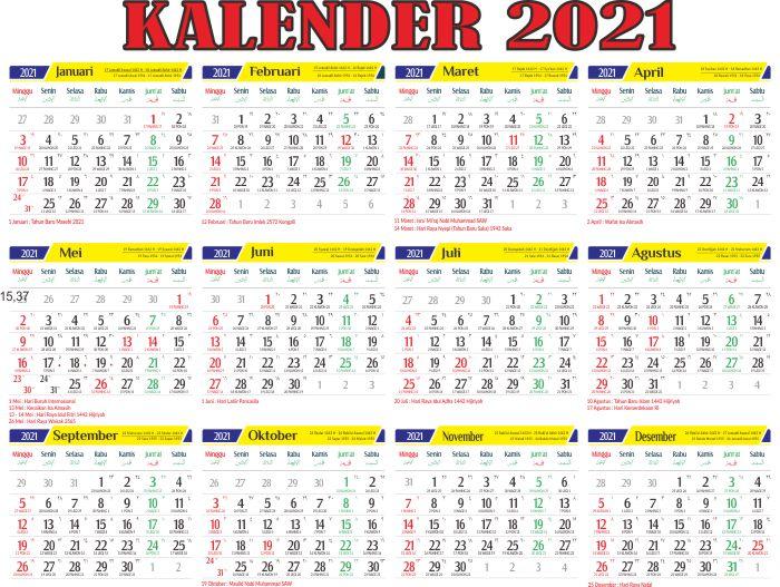 Download Kalender 2021 Indonesia PDF Lengkap