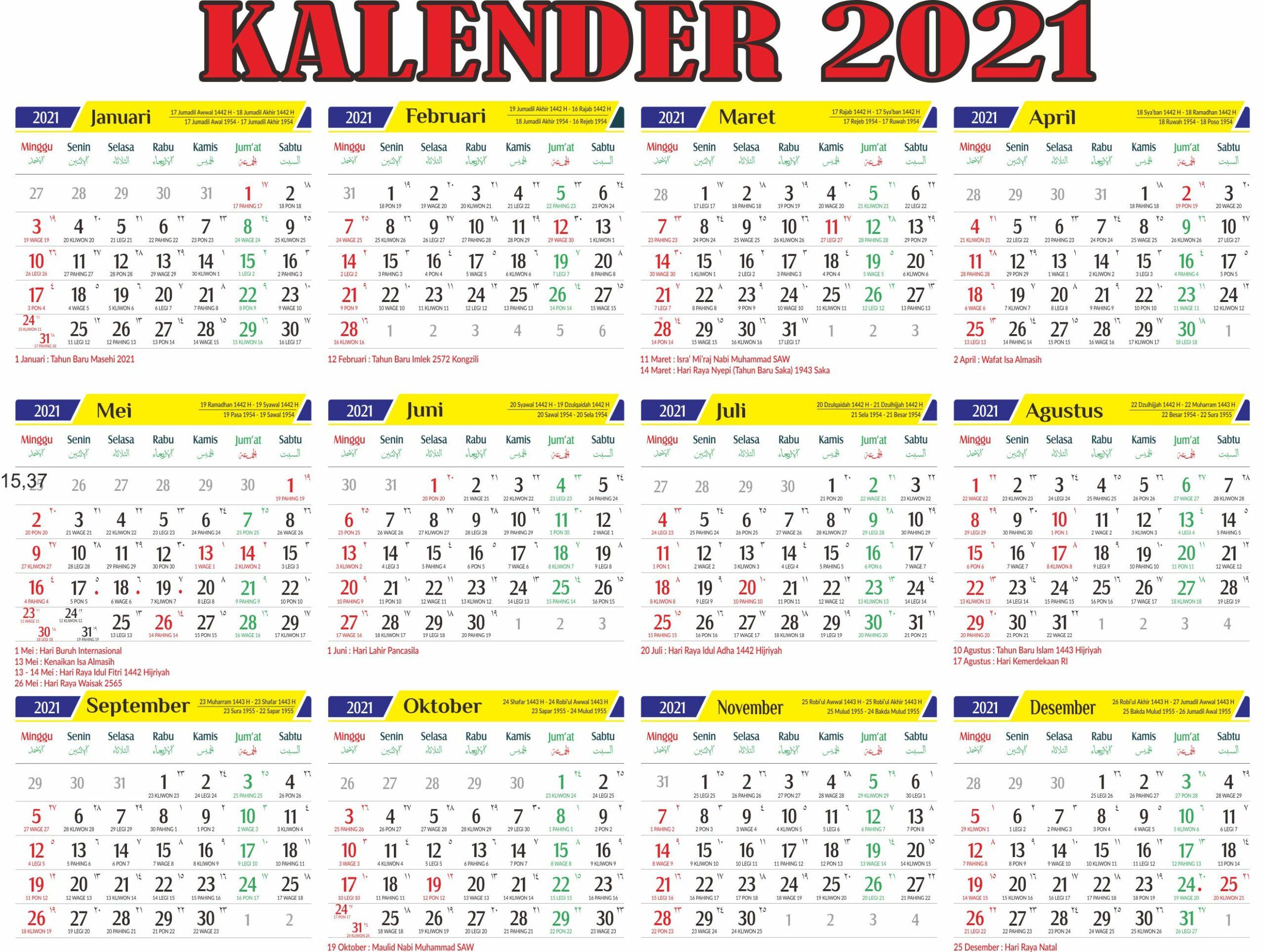 50 Kalender 2021 Indonesia Lengkap