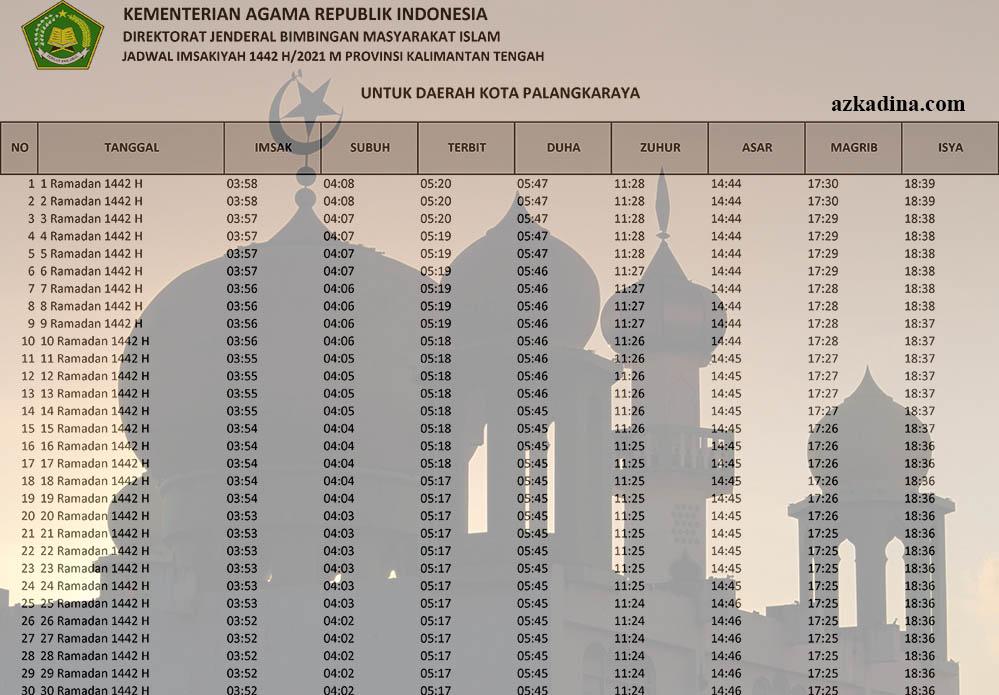 jadwal imsakiyah 2021m-1442h kalimantan tengah-kota palangkaraya