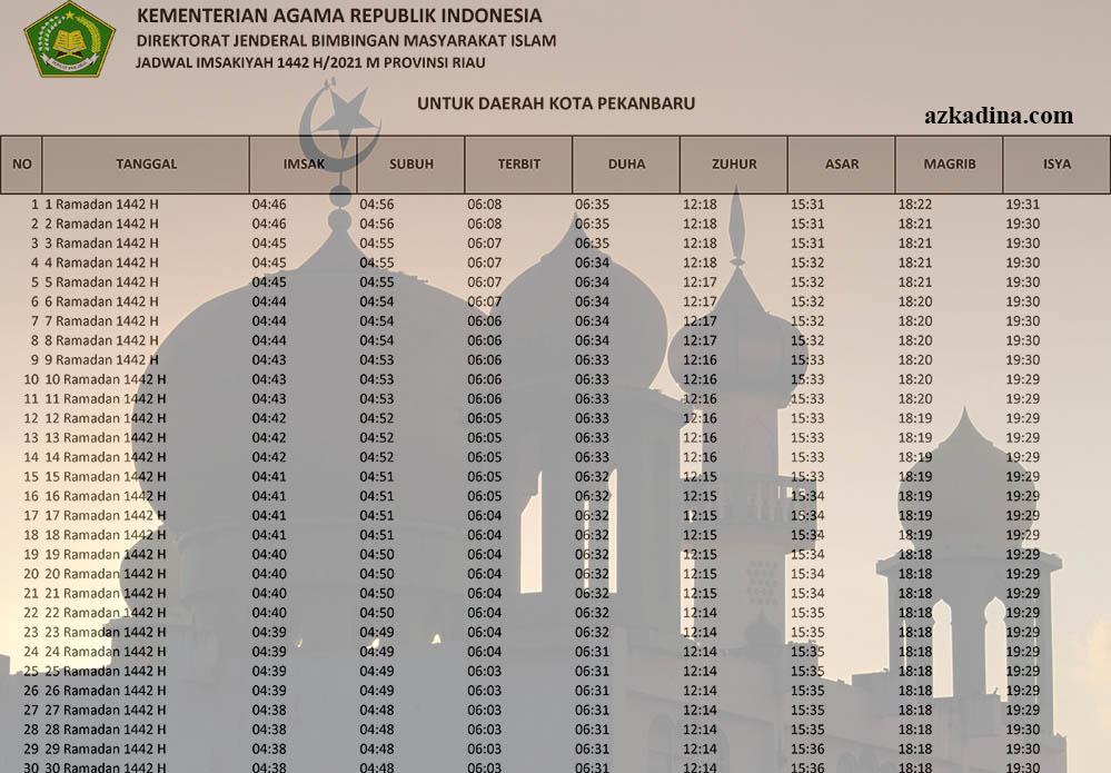 jadwal imsakiyah 2021m-1442h riau-kota pekanbaru