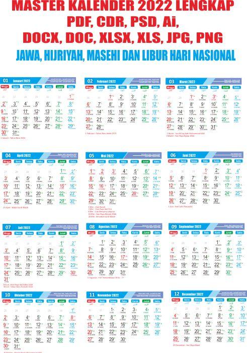Master template Kalender 2022 lengkap pdf cdr