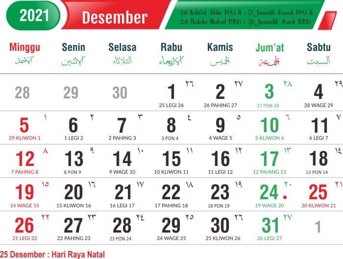 kalender bulan desember 2021